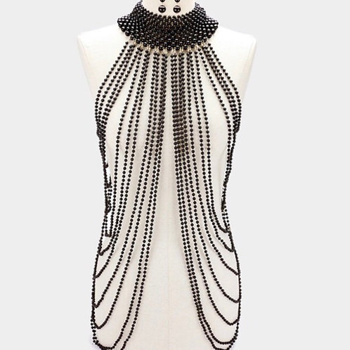 Black Beaded Body-chain Necklace