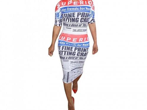 Newspaper Print Midi Dress