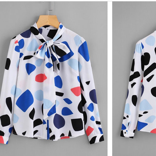 Abstract Print Bow Tie Blouse