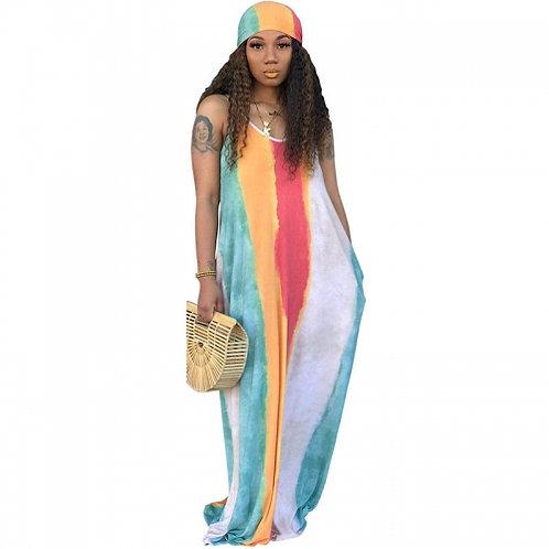 Rainbow Loose V-Neck Maxi Dress