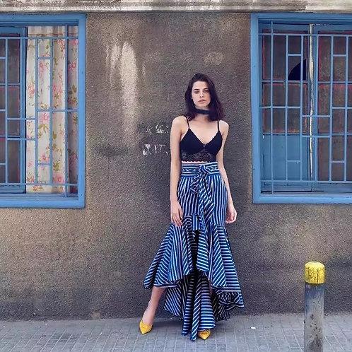 Long Asymmetrical Striped Skirt