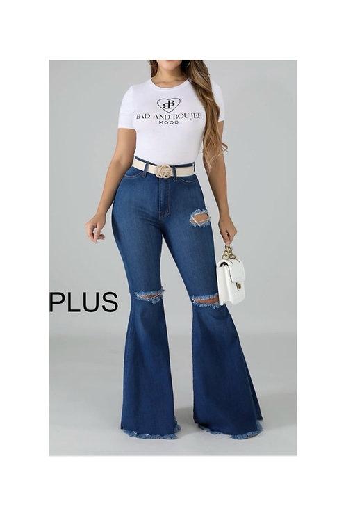 Plus High Waist Bell Bottom Jeans