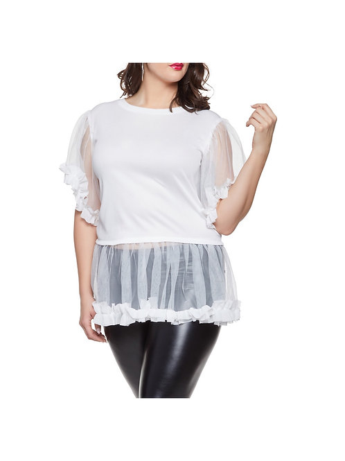 Tulle Ruffle Trim Blouse