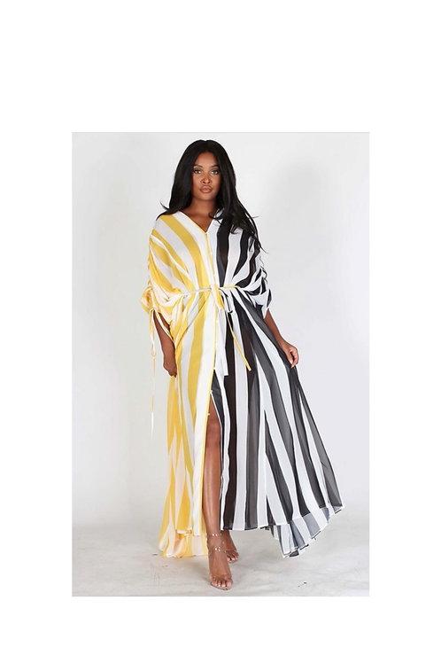 Stripe Chiffon Belted Maxi Dress