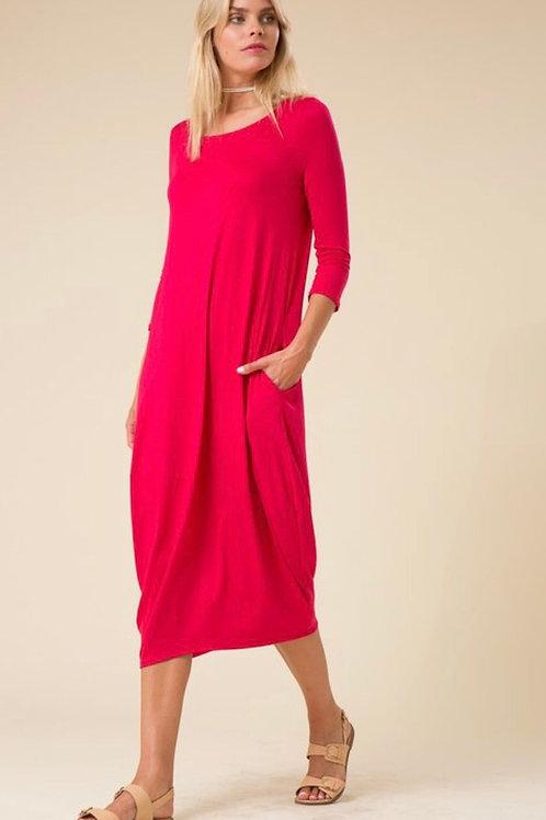 Bubbled Midi Dress w/Pockets