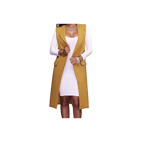 Sleeveless Long Suit Waistcoat Jacket
