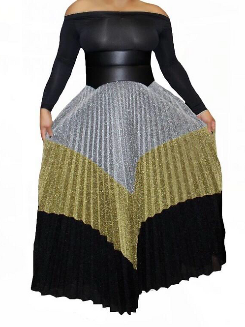 Pleated Shimmery Maxi Skirt