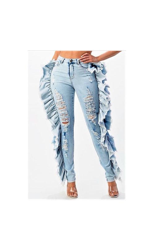 High Rise Ruffle Trim Jeans
