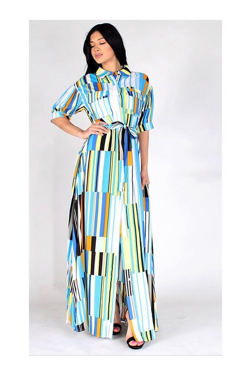 Blue Multi Colored Stripe Maxi Dress