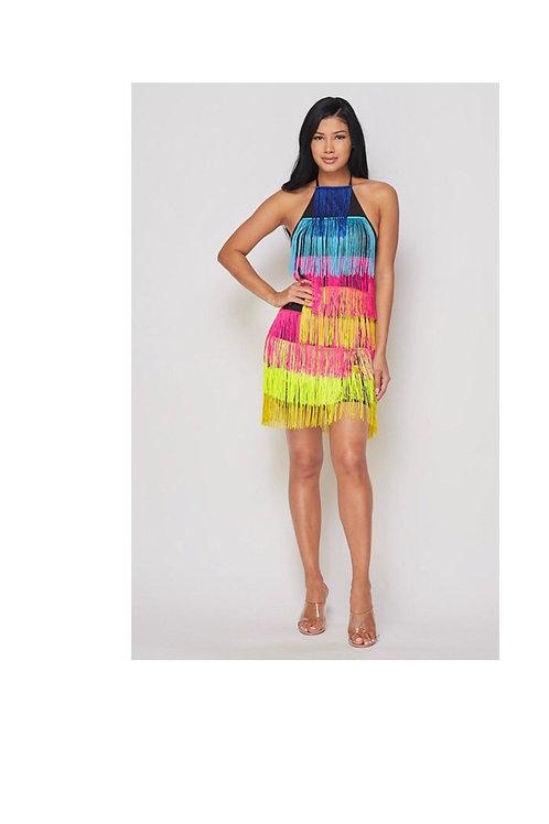 Neon Bright Fringe Mini Dress