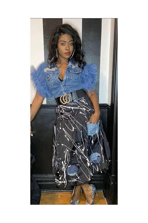 Custom Paint Splattered Denim Patch Skirt