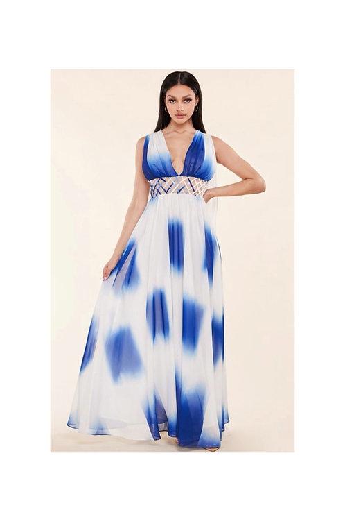 Ombre Chiffon Maxi Dress