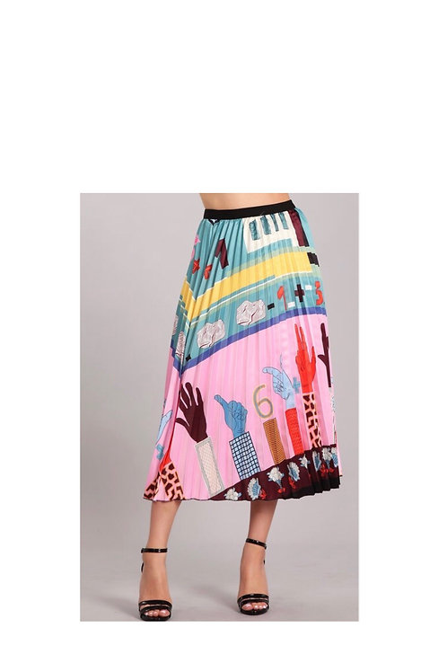 Pleated Classroom Printed Skirt