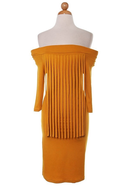 Mustard Fringe Dress