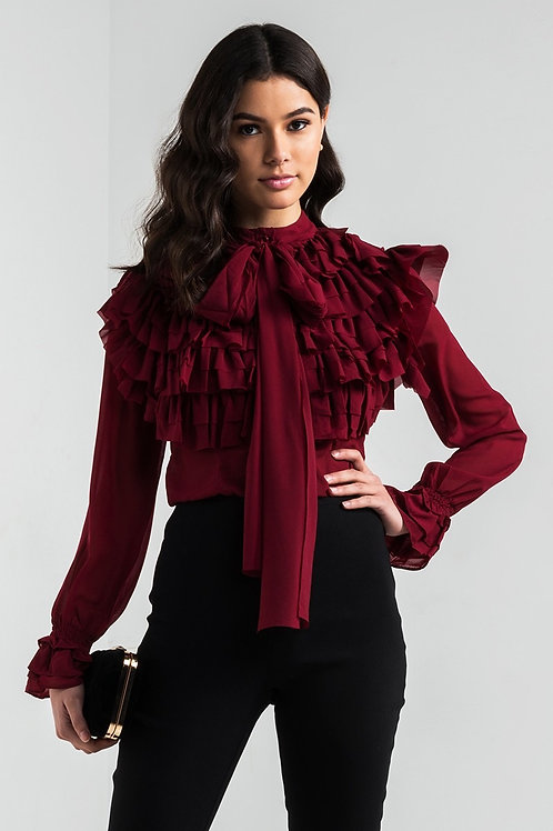 Sheer Ruffle Detail Blouse