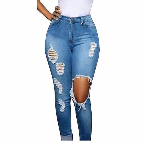 Vintage High Waist Ripped Denim Skinny Jeans