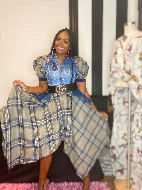Custom Denim Plaid Boho Asymmetrical Dress