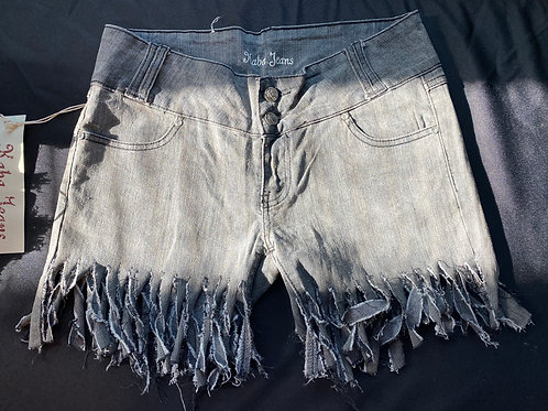 Gray washed fringe cut shorts