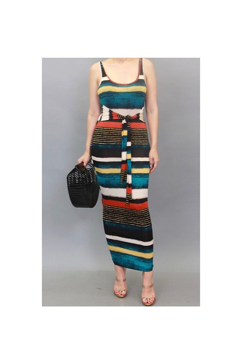 Sleeveless Multi Stripe Maxi Dress