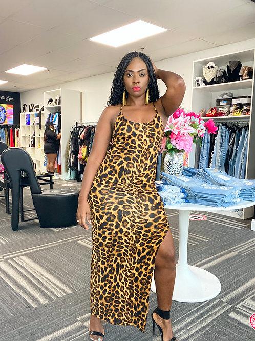 leopard deep split maxi dress