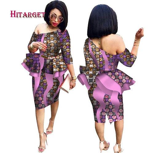 Custom One Shoulder African Peplum Dress