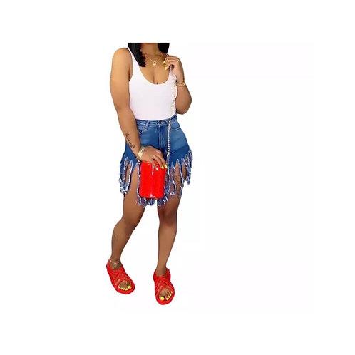 Denim Fringed Cut Shorts