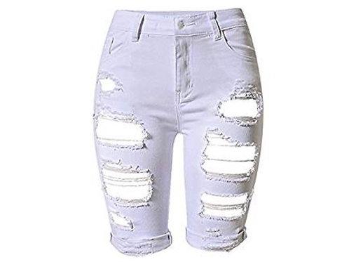 Denim Distressed Bermuda Shorts