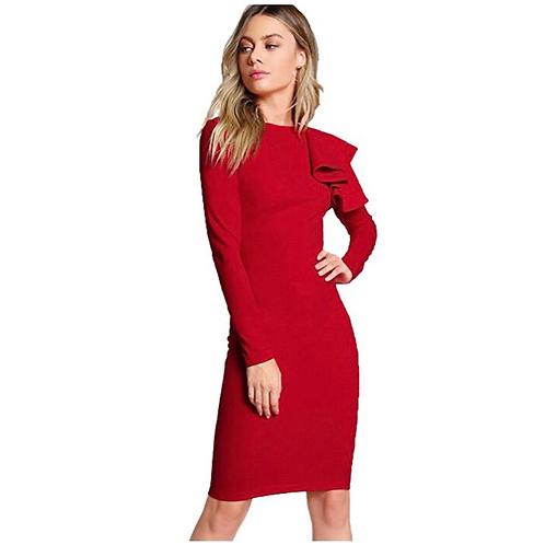 Ruffle Shoulder Dress