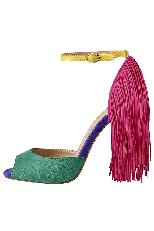 Fringe Ankle Strap Peep Toe Heels