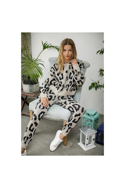 Leopard Knit Hoodie Jogger Set