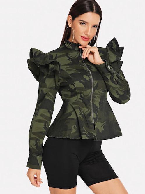 Ruffle Camo Jacket