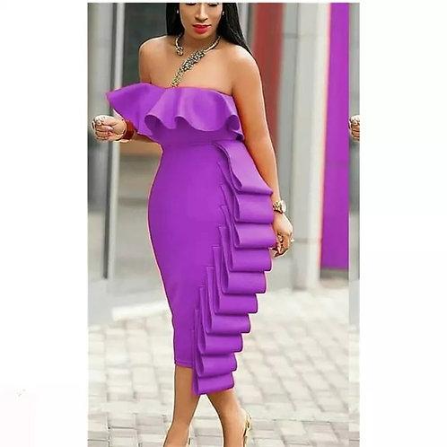 Folded Cascade Tube Dress