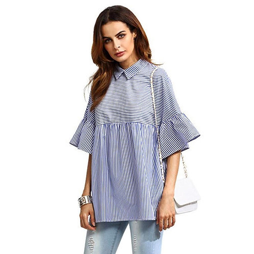 Over Sized Collared Ruffle Blouse