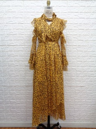 Leopard chiffon wrap dress
