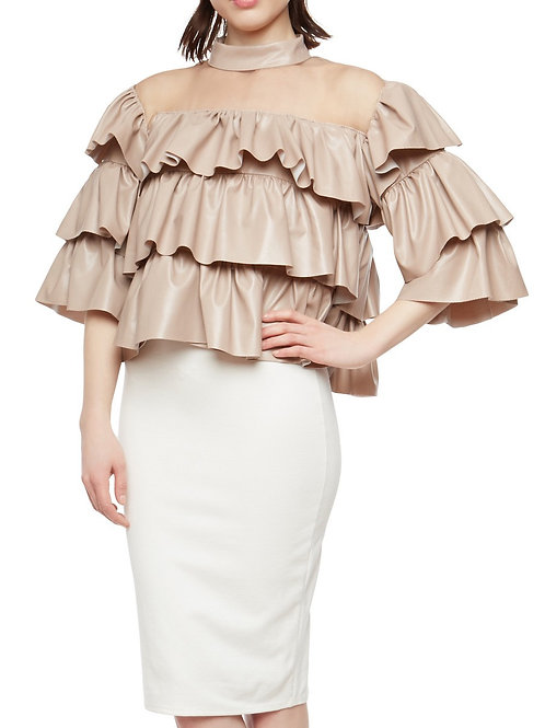 Faux Leather Ruffle Top