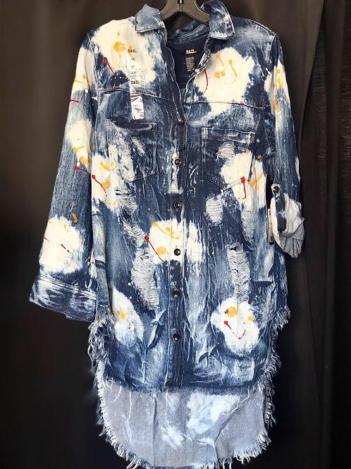 Paint Splatter Distressed Denim Shirt/Dress