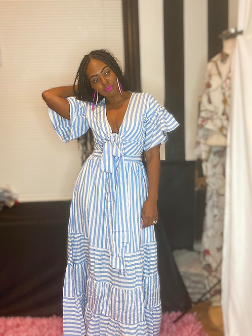 Peep Hole Stripe Maxi Dress