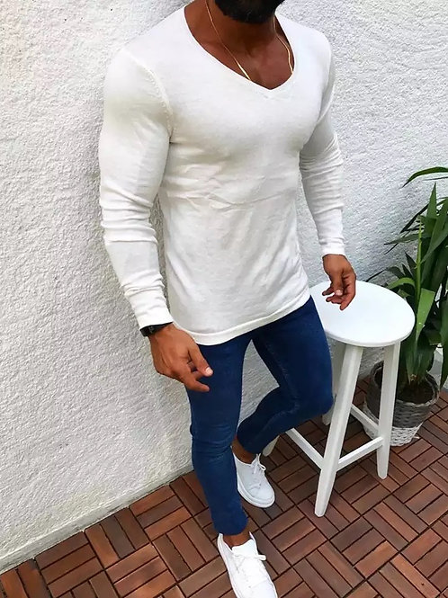 Solid Knit V-Neck Sweater