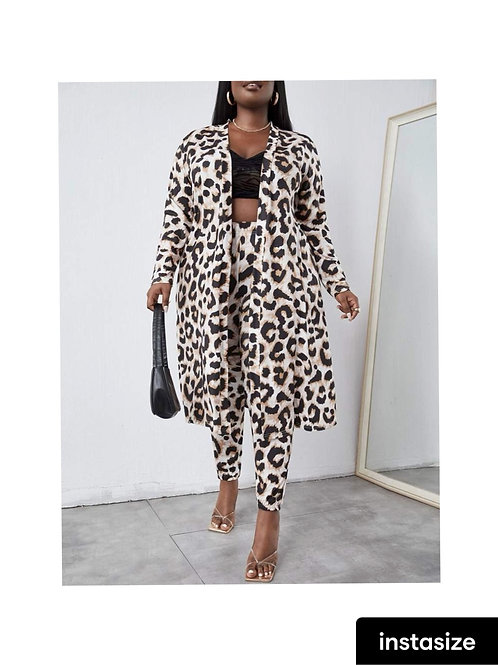 Leopard Cardigan Pants Set