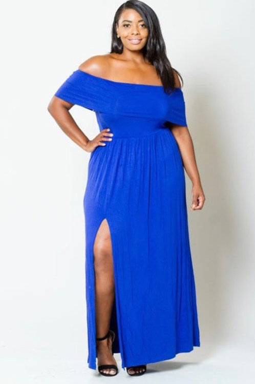 Solid Off Shoulder Maxi w/Split