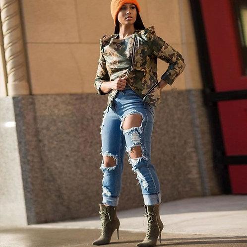 Camouflage Zipper Leather Jacket