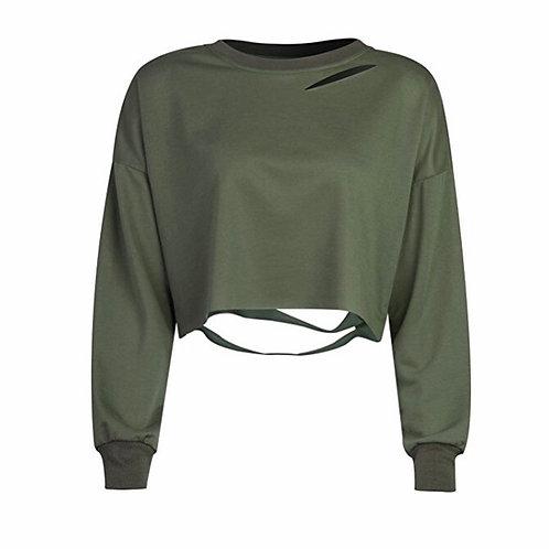 Loose Ripped Striped Long Sleeve Crop Top Sweatshirt
