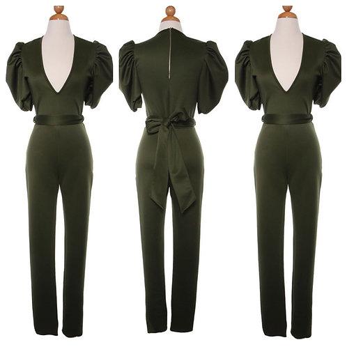 Pouf Sleeve Olive Jumpsuit