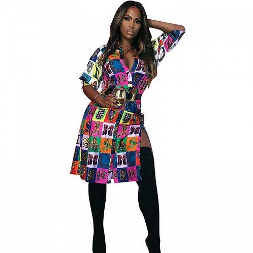 Colorful Print Shirt Dress