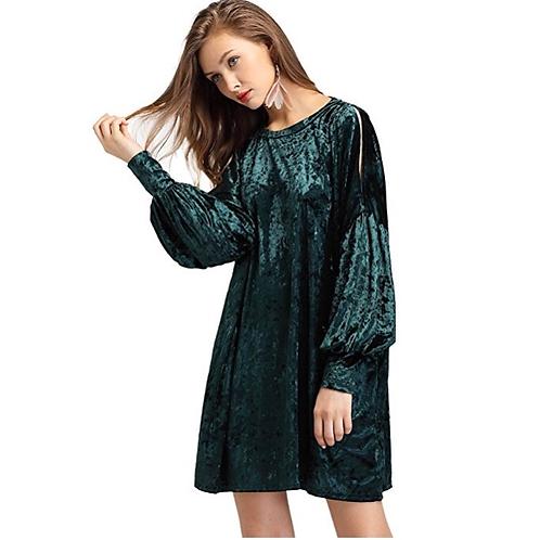 Velvet Slit Shoulder Lantern Sleeve Mini Dress