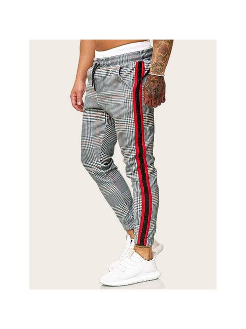 Houndstooth Print Drawstring Pants