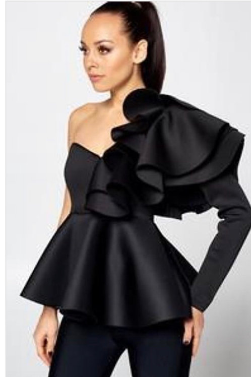 Ruffle Peplum One Shoulder Top