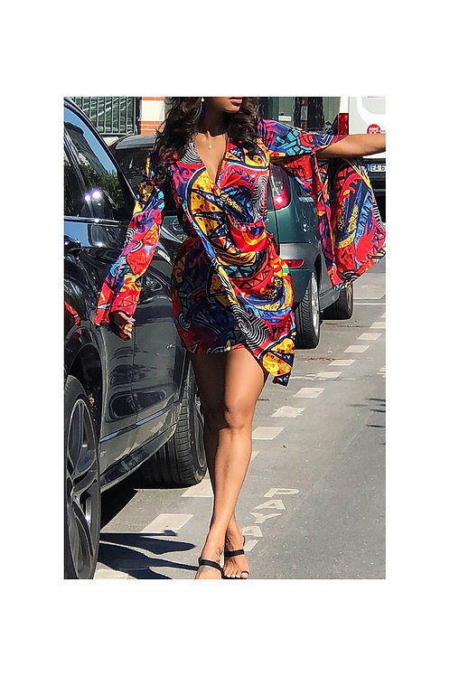 Flare Sleeve Multi Color Mini Dress