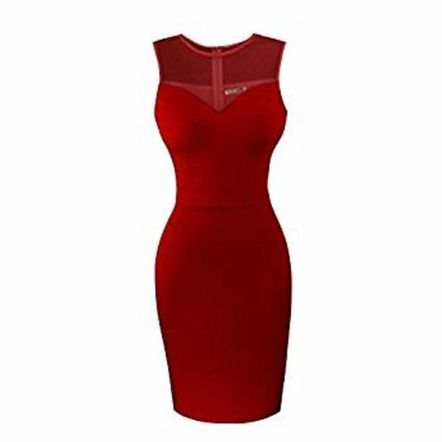 Sleeveless Bodycon Little Cocktail Party Dress With See Through Top