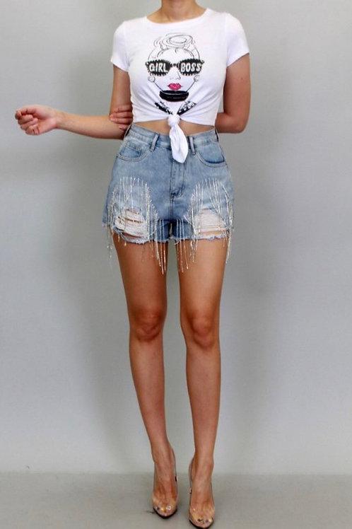 Rhinestone distressed Tassel Shorts